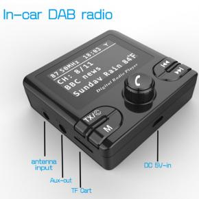 In-car DAB+ Radio receiver with Bluetooth player
