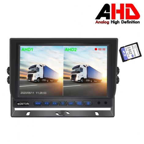 7 Inch Car AHD 1080P DVR Two-Split Monitor